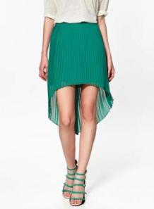 GREEN ASYMETRICAL SKIRT